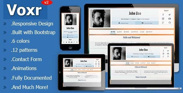 Voxr - Responsive vCard Personal Template - Virtual Business Card Personal
