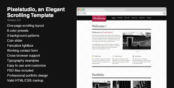 Free Download Pixelstudio - An elegant scrolling one-page layout Nulled Latest Version