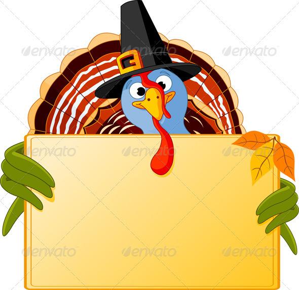 Cartoon Turkey Banner - Seasons/Holidays Conceptual