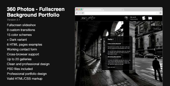 Free Download 360 Photos - Fullscreen Background Portfolio Nulled Latest Version