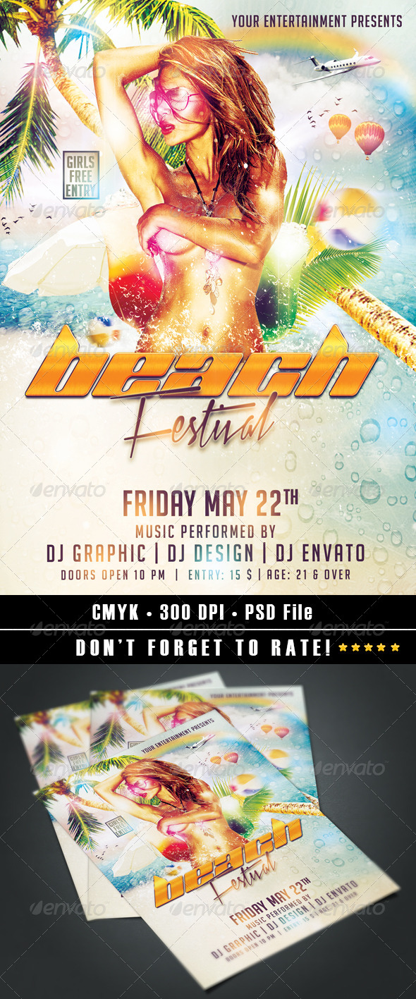 Beach Festival flyer - Clubs & Parties Events