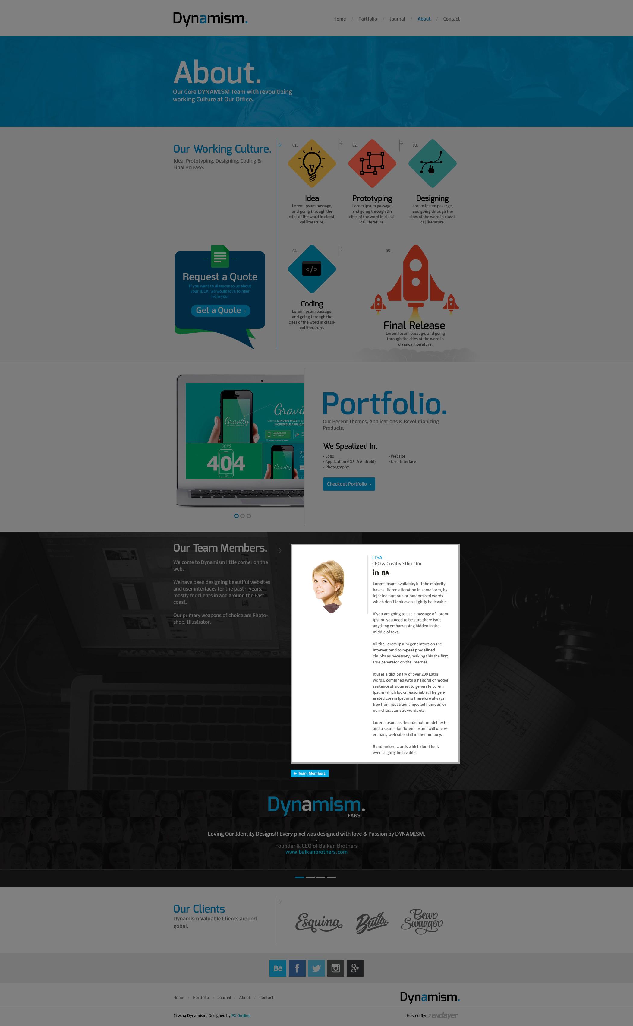 Dynamism a Creative Portfolio Theme (PSD) by pxoutline