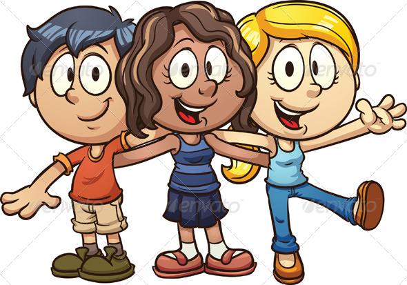 cartoon friends by memoangeles graphicriver rh graphicriver net Cartoon Characters Hugging Cartoon Characters Hugging