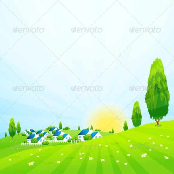 Green Landscape with Village - Landscapes Nature