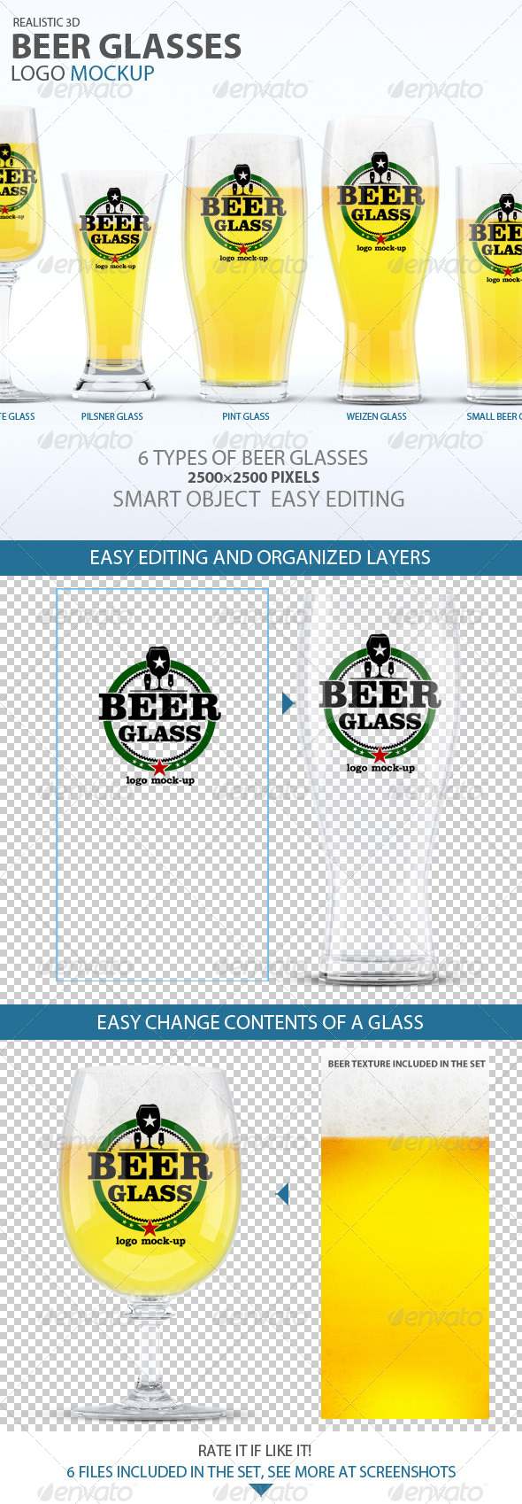 Beer Glasses Logo Mockup - Food and Drink Packaging