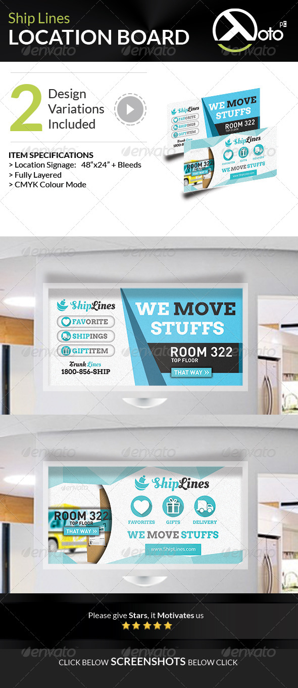 Ship Lines Shipping Service Location - Signage Print Templates