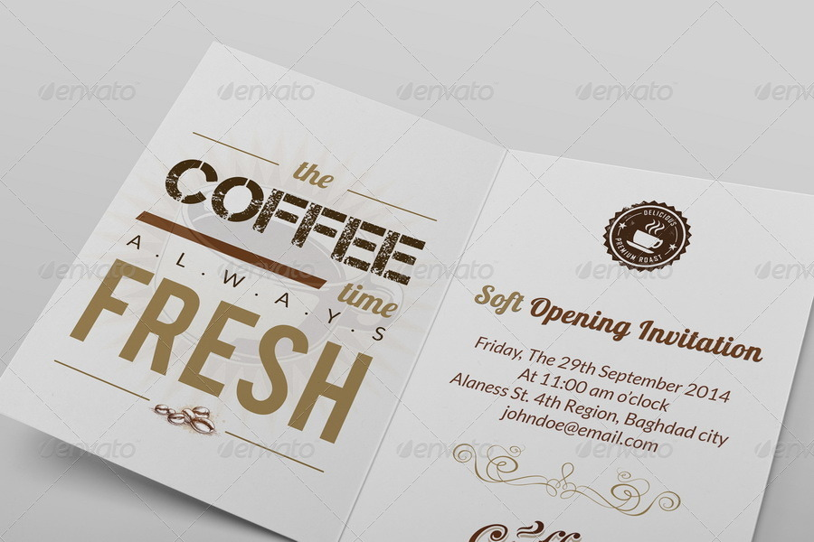 Cafe Soft Opening Invitation Card Vol 3
