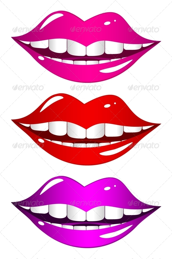 Mouth Laughs Set - Objects Vectors