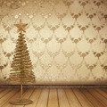 Christmas golden spruce in the old room, decorated with wallpaper - PhotoDune Item for Sale