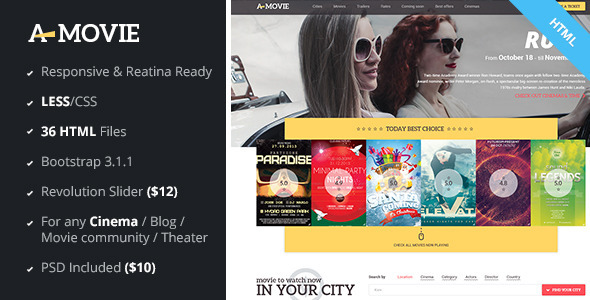 A.Movie – Cinema/Movie HTML LESS Template