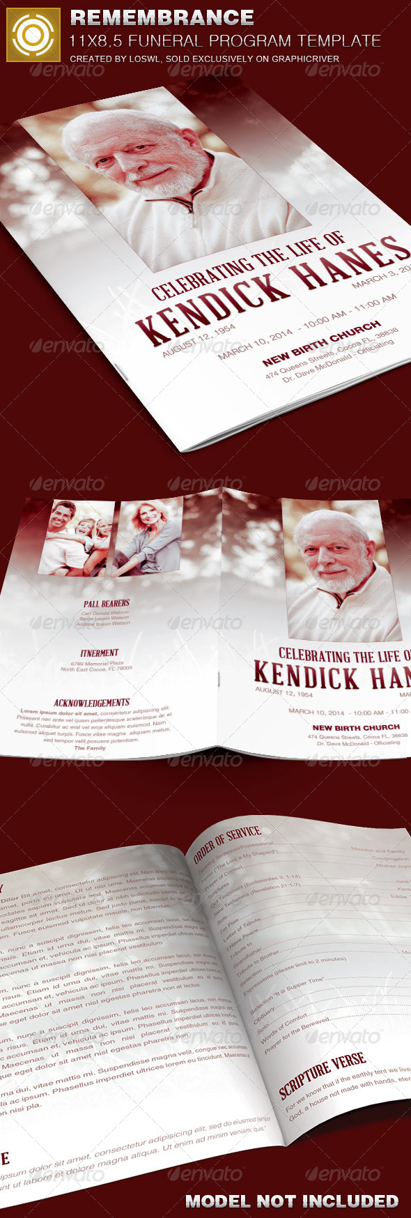 In Remembrance Funeral Program Template By Loswl Graphicriver