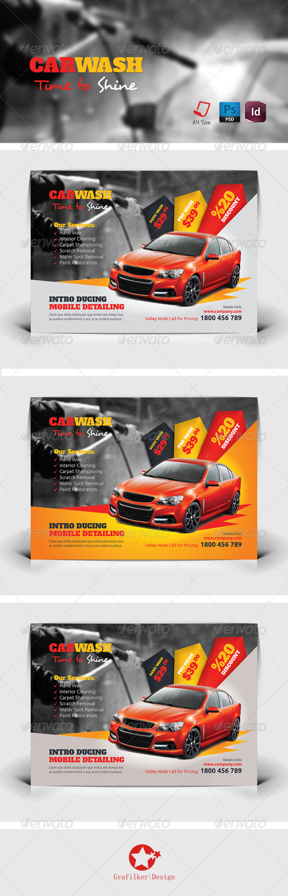 Car Wash Flyer Templates by grafilker – Auto Detailing Flyer Template