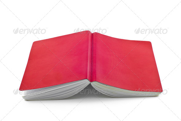 red notebook isolated on white background - Stock Photo - Images
