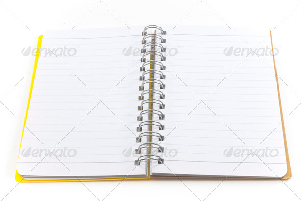 yellow notebook isolated on white background - Stock Photo - Images
