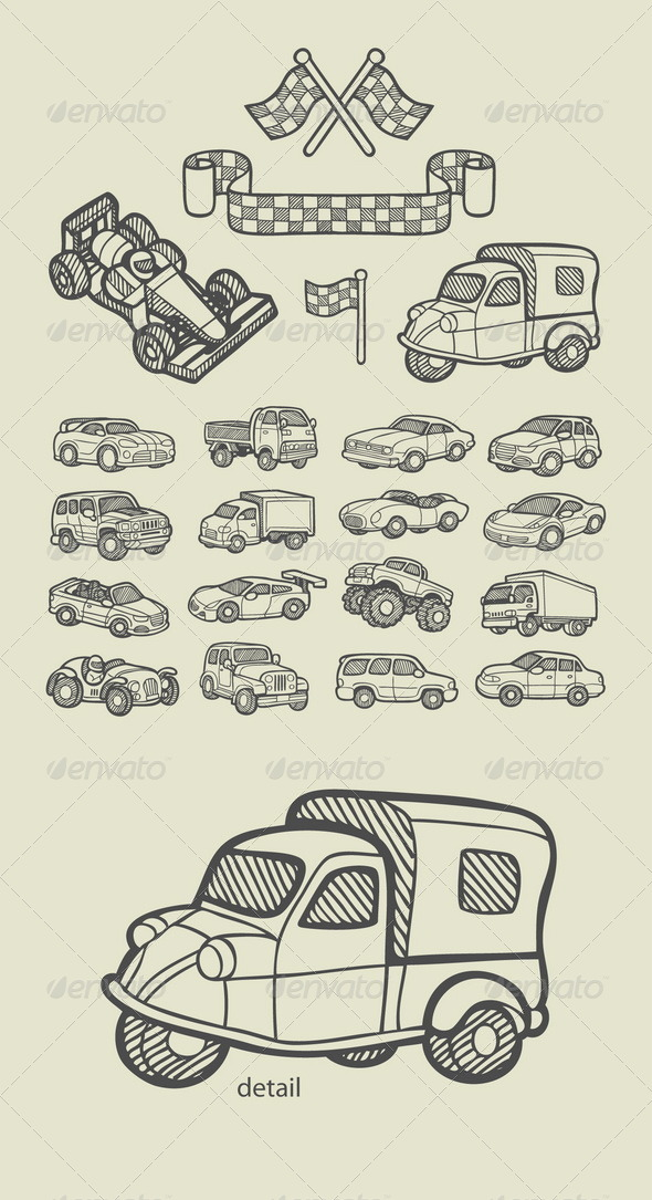 Car Icons Sketch - Man-made Objects Objects