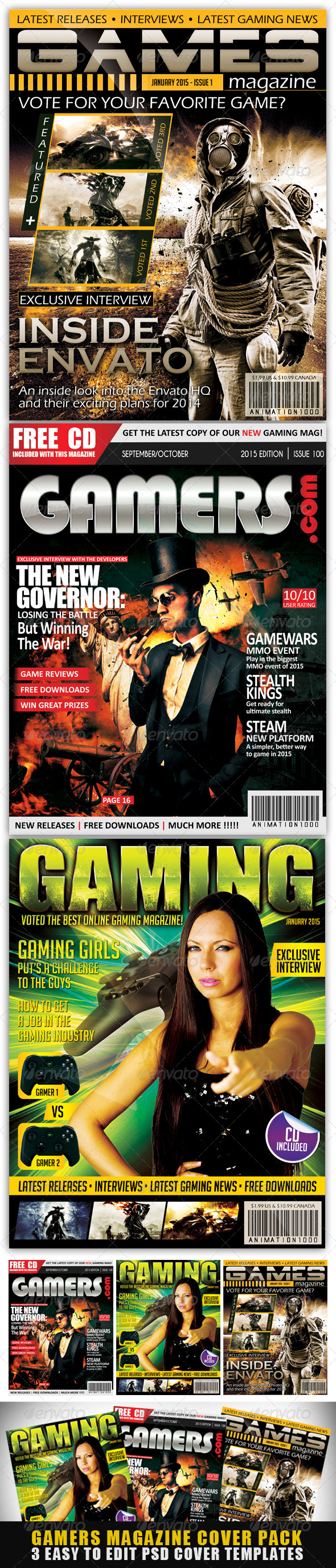 Gamers Magazine Cover Templates - Magazines Print Templates