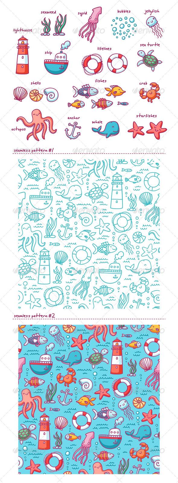 Sea Doodles - Miscellaneous Vectors