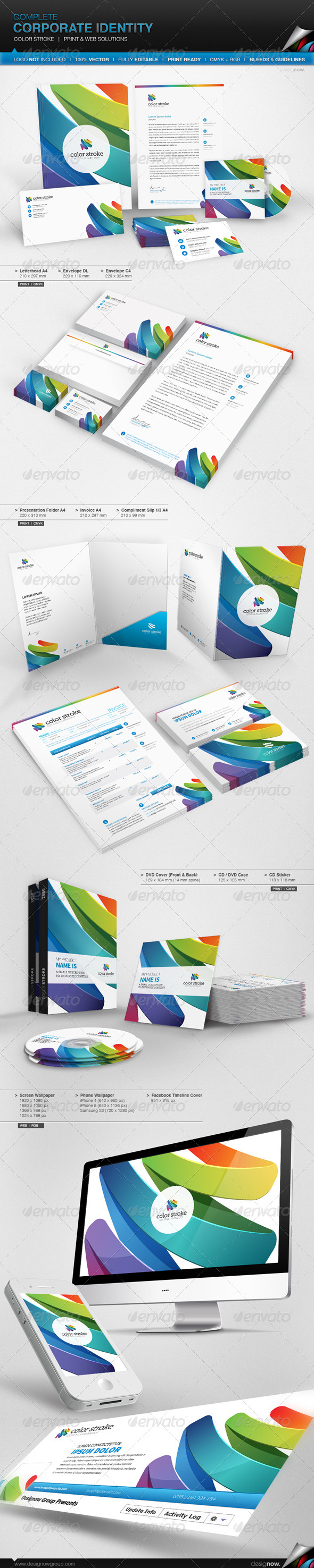 Corporate Identity - Color Stroke - Stationery Print Templates