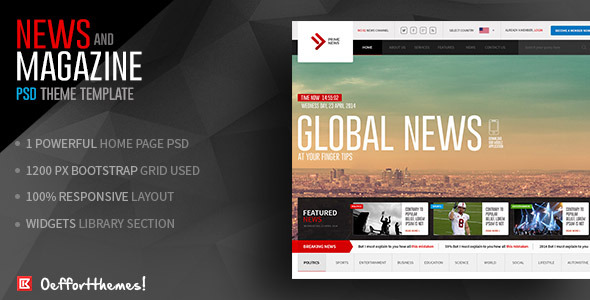 Prime NewsOnline News And Magazine Template By Effortthemes - Online magazine template