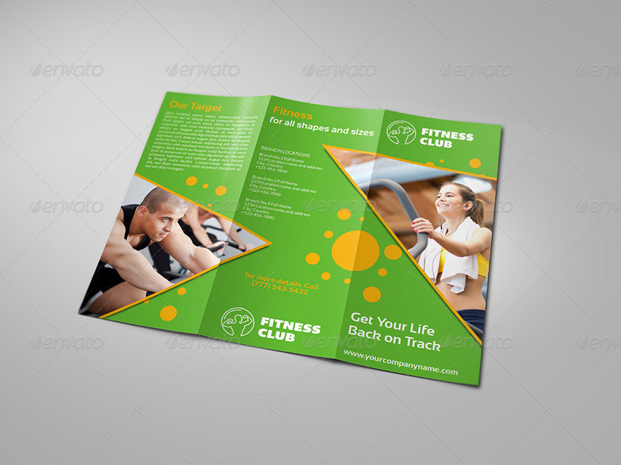 Fitness  Gym Brochure TriFold Template Vol By Owpictures