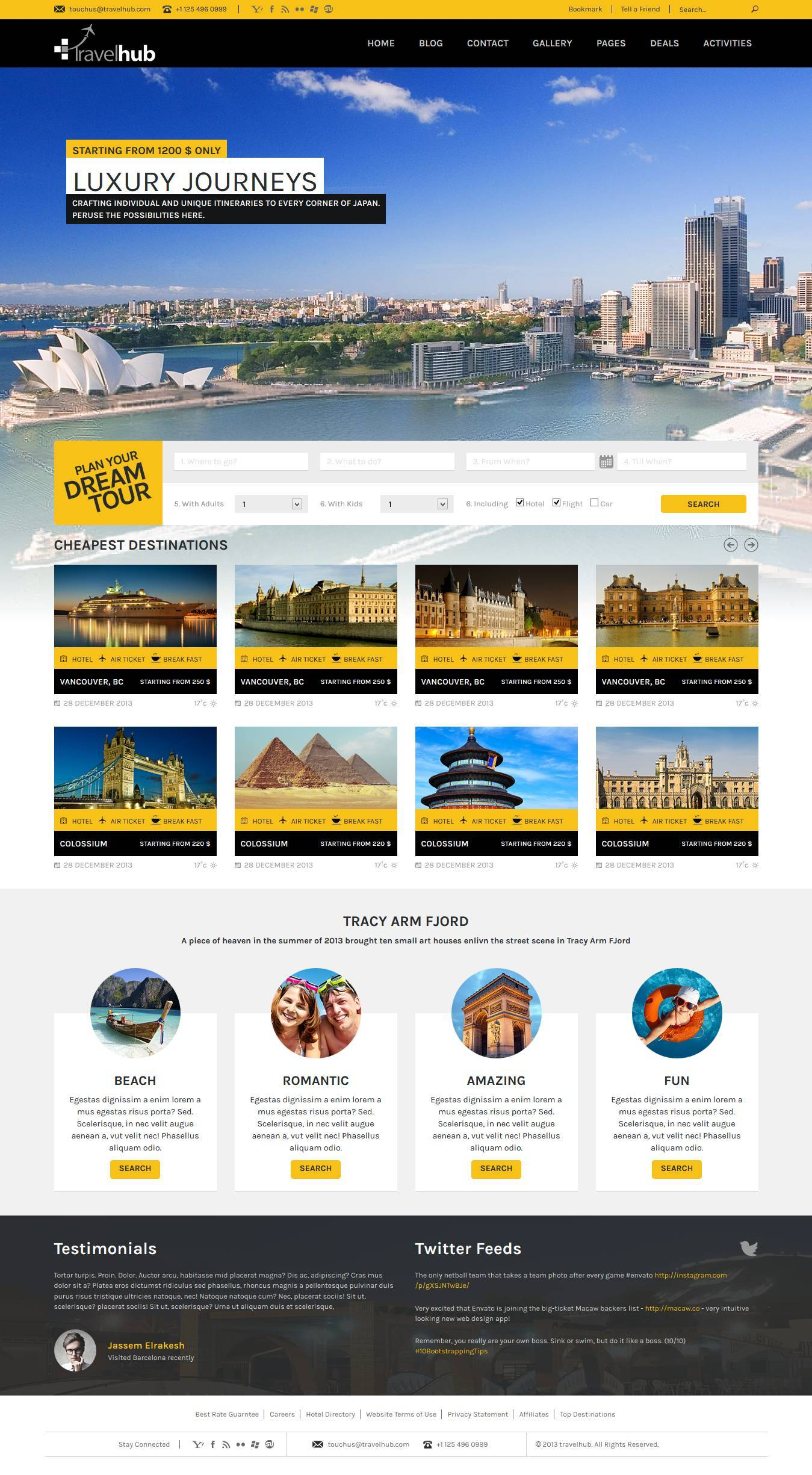 travel hub touring packages html template