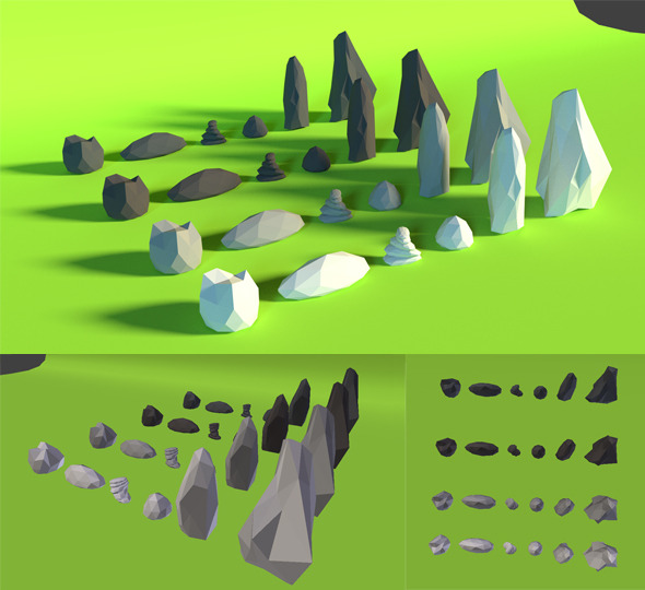 LowPoly Rocks .Pack4 - 3DOcean Item for Sale