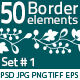 50 Border Elements Pack #1 - GraphicRiver Item for Sale