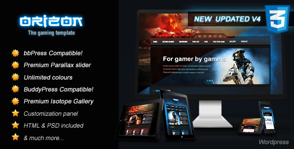 Orizon – The Gaming Template WP version