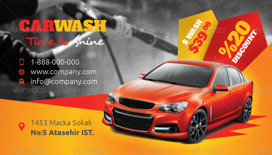 Car Wash Business Card Templates by grafilker | GraphicRiver