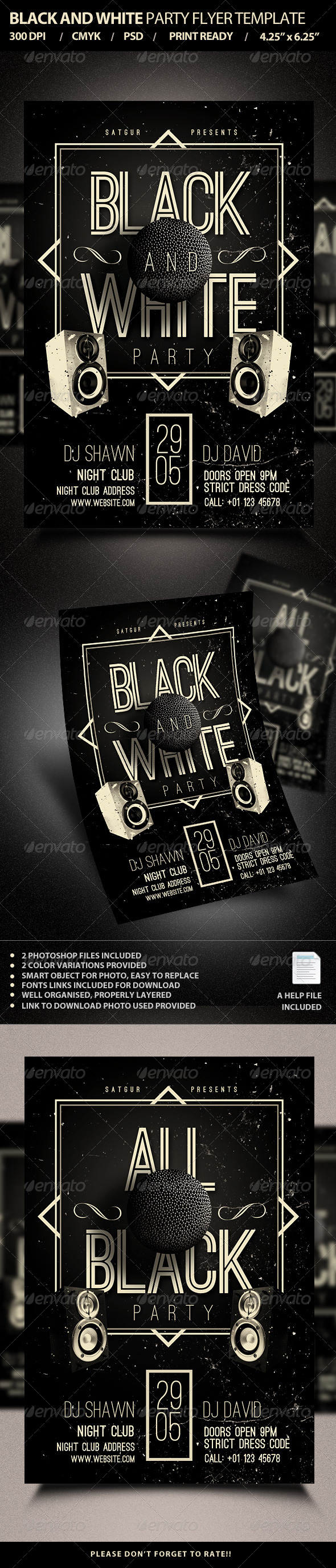 Black And White Party Flyer Template Psd V4 By Satgur Graphicriver
