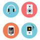Flat Icons Vector Collection of Music Icons - GraphicRiver Item for Sale