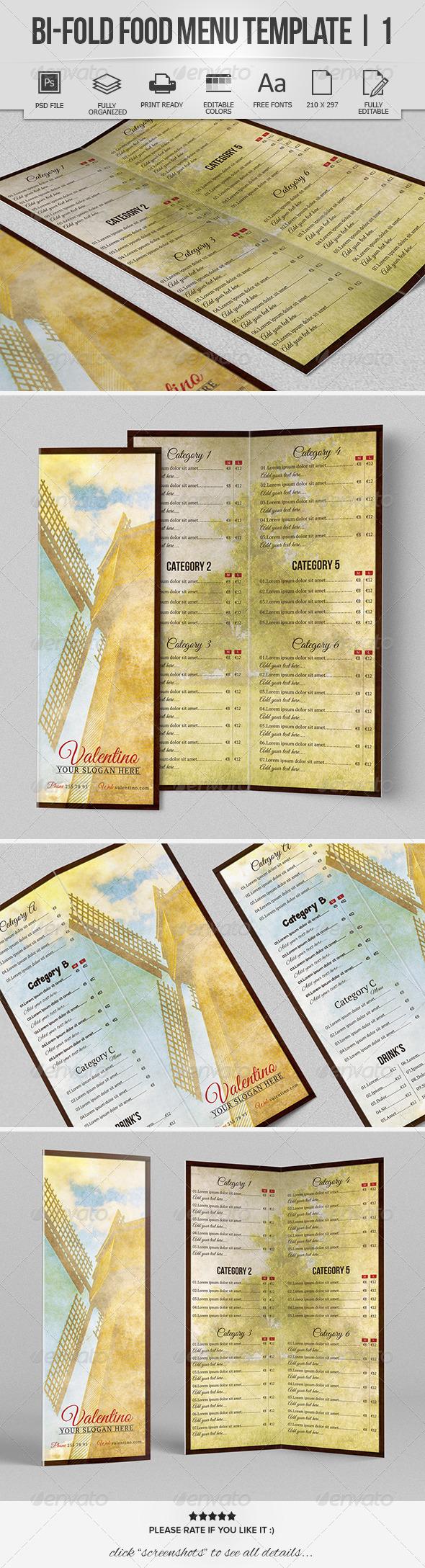 Bi-Fold Food Menu Template | 1 - Food Menus Print Templates