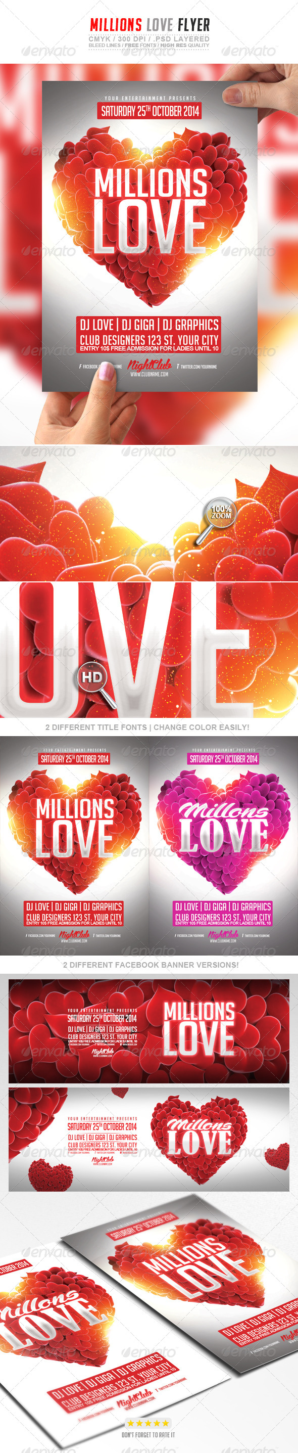 Millions Love Flyer PSD Template - Events Flyers