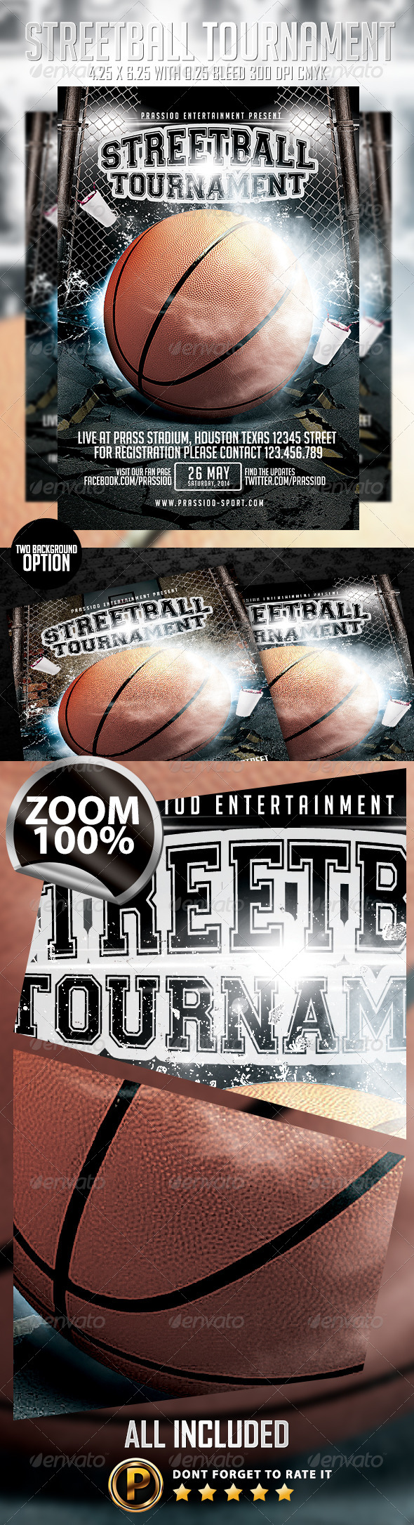 Streetball Tournament Flyer Template - Sports Events