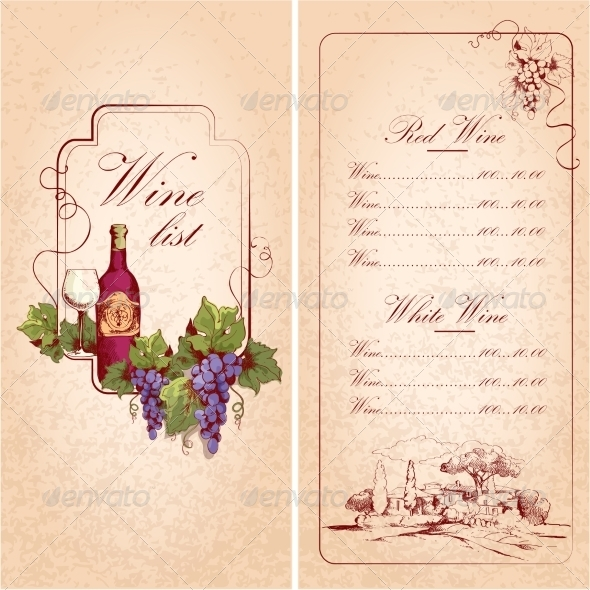 Wine List Template by macrovector | GraphicRiver