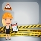 Businesswoman with Danger Tapes - GraphicRiver Item for Sale