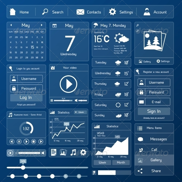 flat user interface template web elements vectors