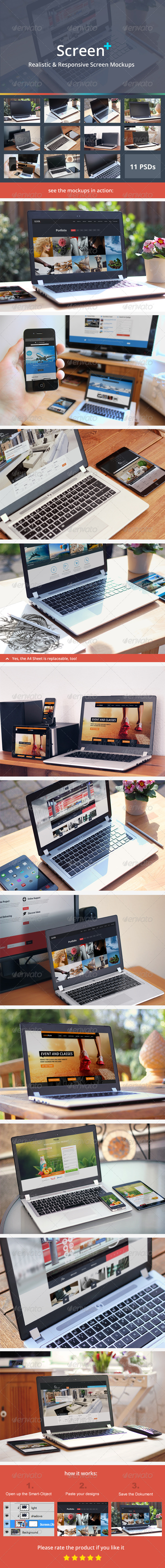 ScreenPlus - Realistic & Responsive Screen Mockups - Multiple Displays