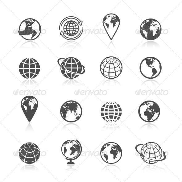 Globe Earth Icons By Macrovector Graphicriver