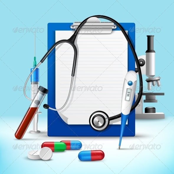 stethoscope and notes medical frame by macrovector