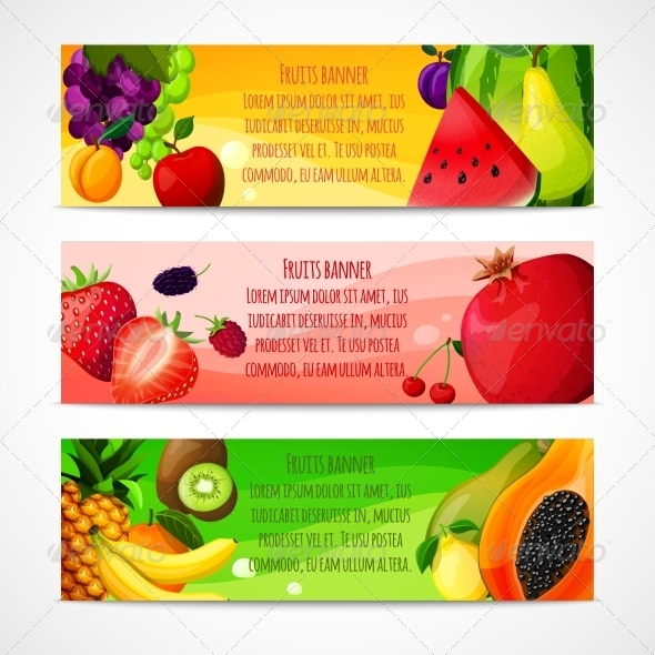 Horizontal Fruits Banners