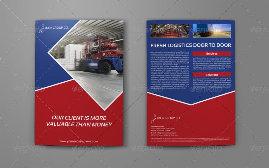 Modern Logistics A4 Bi Fold Brochure Template