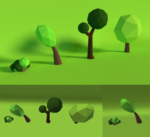 LowPoly Trees .Pack5 - 3DOcean Item for Sale