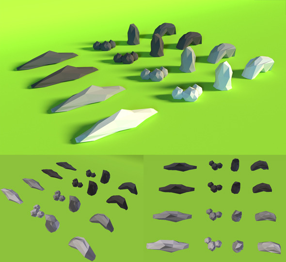 LowPoly Rocks .Pack5 - 3DOcean Item for Sale