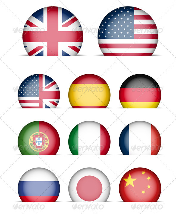 Language Buttons - Collection of Flags Icons - Web Elements Vectors