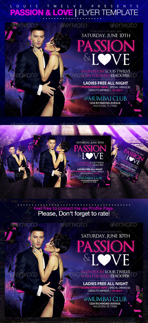 Passion and Love | Horizontal Flyer - Clubs & Parties Events