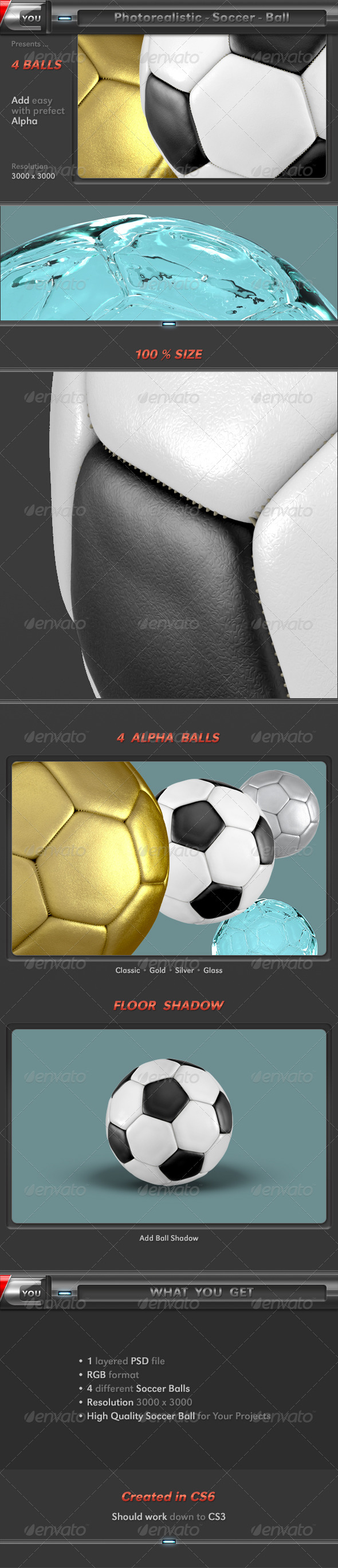 3D Photorealistic Soccer Ball Set - Objects 3D Renders