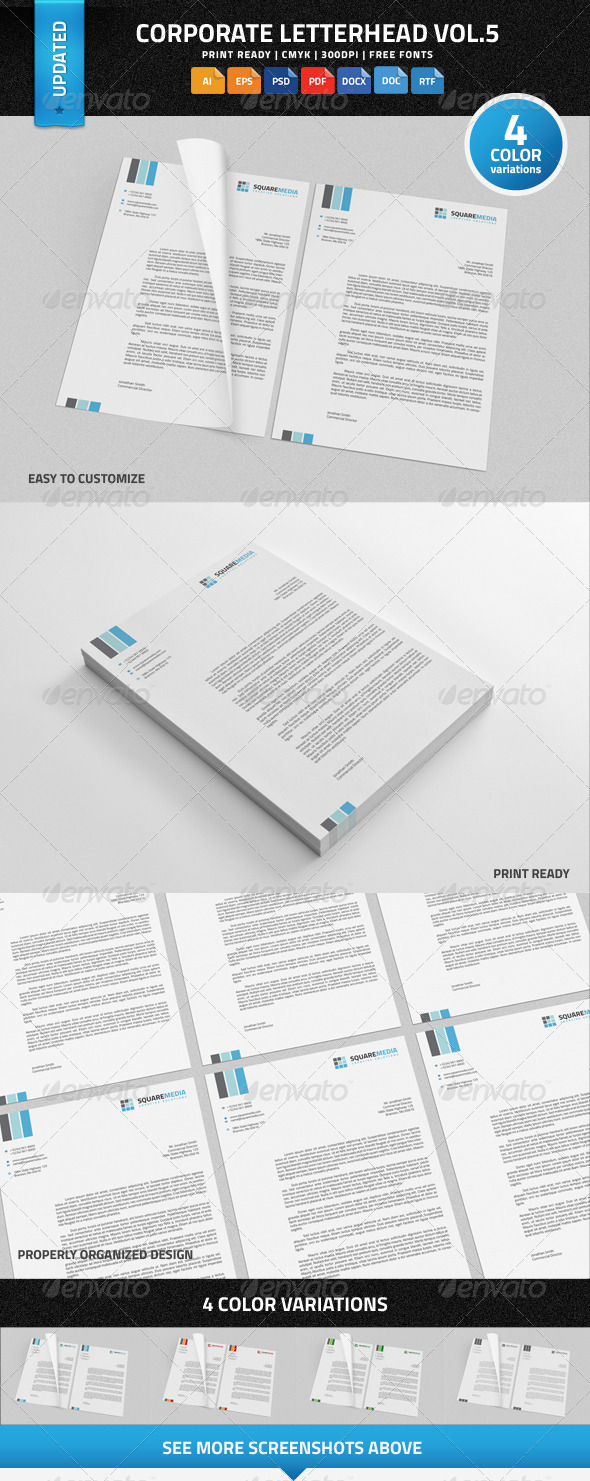 Corporate Letterhead vol.5 with MS Word DOC/DOCX - Stationery Print Templates