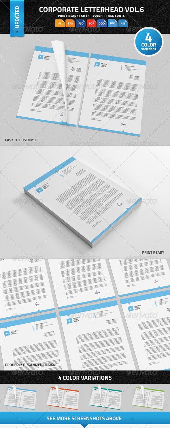 Corporate Letterhead vol.6 with MS Word DOC/DOCX - Stationery Print Templates