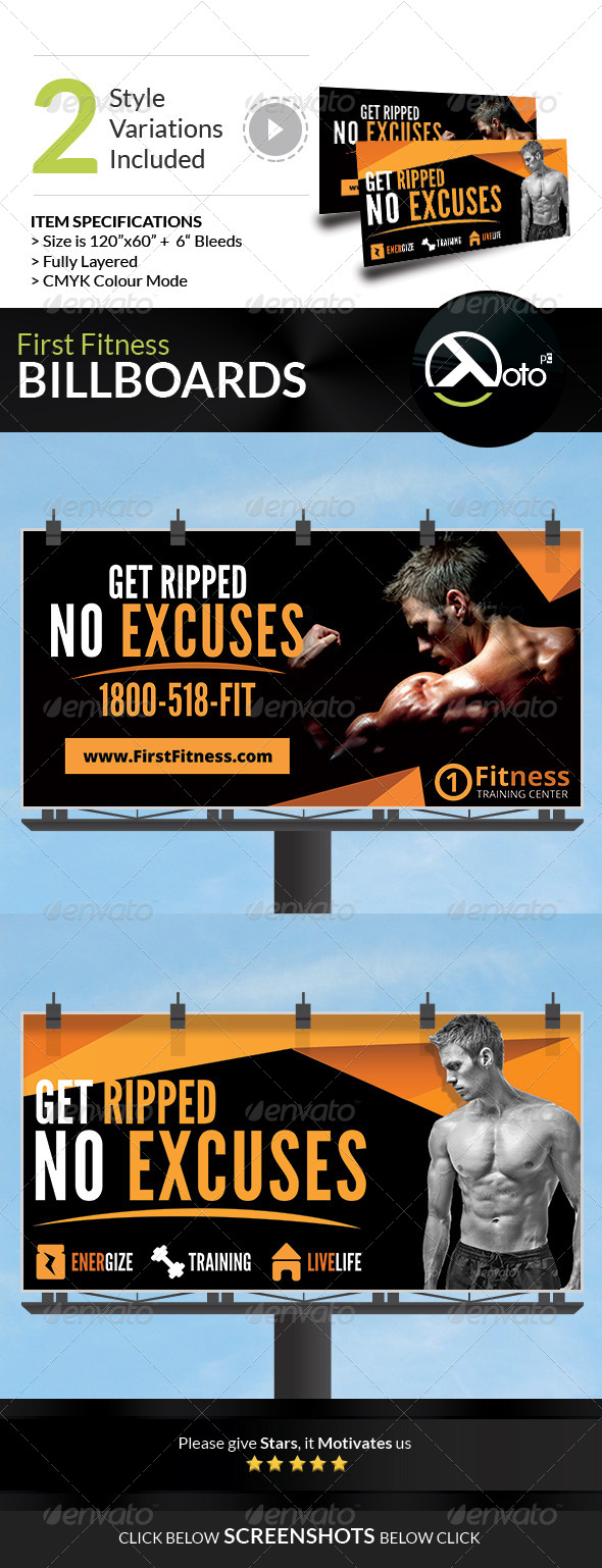 First Fitness Body Weight Training Billboards  - Signage Print Templates